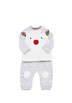 F&F Reindeer Face Christmas Twosie Set - Grey marl
