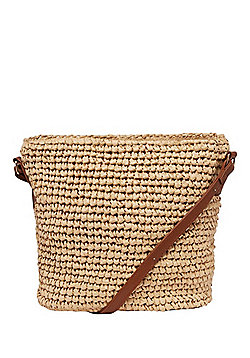 F&F Straw Cross-Body Bucket Bag