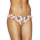 South Beach Ruffle Trim Blurred Floral Print Narrow Bikini Briefs - Pink