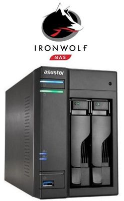 Asustor AS6102T/6TB-IW 2-Bay 6TB(2x3TB Seagate IronWolf) 4K Playback Multimedia NAS