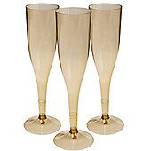 Gold Plastic Champagne Glasses - 162ml - 20 Pack