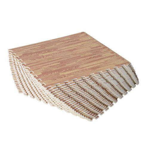 Homcom Interlocking EVA Foam Wood Grain Floor Mats (Dark wooden, 96 SQ FT / 24 Mats)