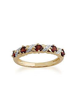 Gemondo Garnet Ring, 9ct Yellow Gold 0.56ct Garnet & Diamond Half Eternity Ring