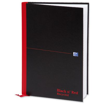 Black n Red Casebound Book Recycled A4 90gsm 192 Pages 100080530 (5 Pack)