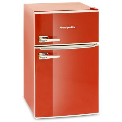 Montpellier MAB2030R Retro Style Under Counter Fridge Freezer - Red