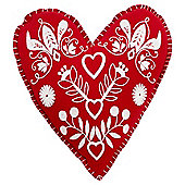 Tesco Christmas Felt Heart Cushion