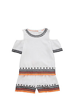 F&F Embroidered Cold Shoulder Top and Shorts Set - White & Multi