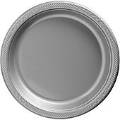 Silver Serving Plates - 26cm Plastic - 50 Pack