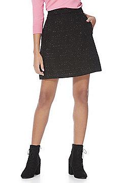 F&F Tinsel Trim A-Line Mini Skirt - Black