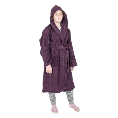 Homescapes Grape 100% Combed Egyptian Cotton Hooded Kids Bathrobe, Small