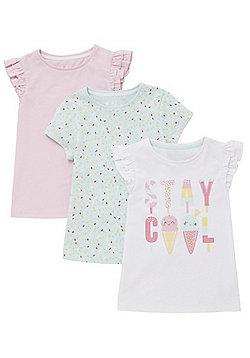 F&F 3 Pack of Slogan, Print and Plain T-Shirts - Multi