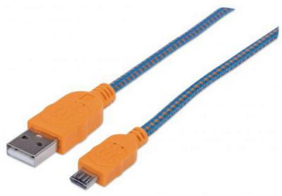 Manhattan 352734 1m USB A Micro-USB B Blue Orange cable
