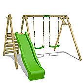 Wooden Kids swing FATMOOSE JollyJack Star Star XXL with apple green slide