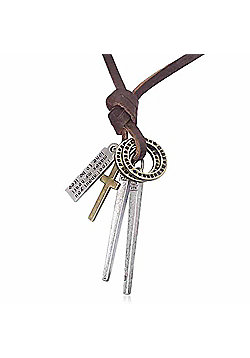 Urban Male Genuine Brown Leather Necklace with Spike Pendant & Charms