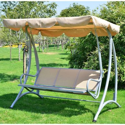 Outsunny 3 Seater Canopy Swing Chair Hammock Garden Metal Rocking Seat