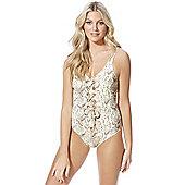 F&F Luxury Swimwear Snakeskin Print Lace-Up Swimsuit - Cream & Beige