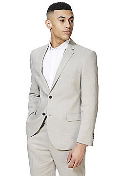 F&F Linen Blend Regular Fit Suit Jacket - Stone