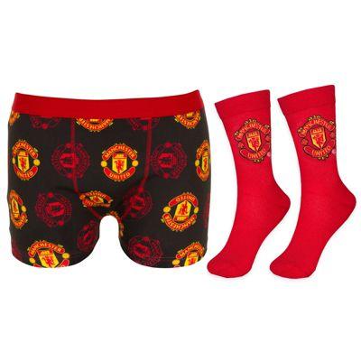 Manchester United FC Mens Socks & Multi Crest Boxer Shorts Black Large