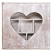 Heart - Cut Out Storage Cubby Box - Driftwood / White