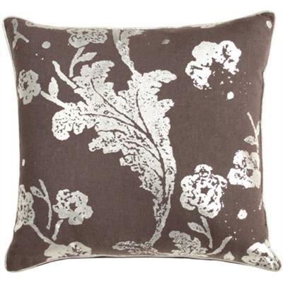 Floral Print Cushion - Charcoal & Silver