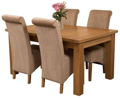 Seattle Extending Kitchen Solid Oak Dining Set Table + 4 Beige Fabric Chairs