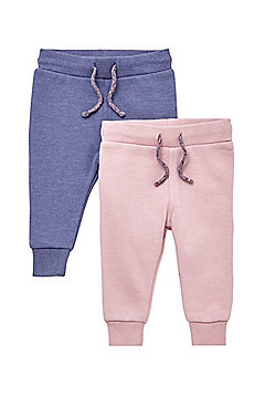 F&F 2 Pack of Cuffed Joggers - Pink
