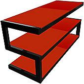 NORSTONE ESSE 3 SHELF AV RACK (BLACK FRAME/RED GLASS)
