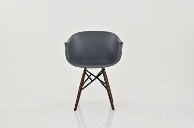 Bergen Slate Grey Plastic With Arms Dining Chair Walnut Leg