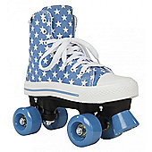 Rookie Quad Roller Skates - Canvas High Stars Blue/White - Blue