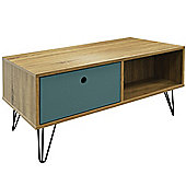 Industrial - Low Coffee Table / Entertainment Storage Unit With 2 Drawers - Oak
