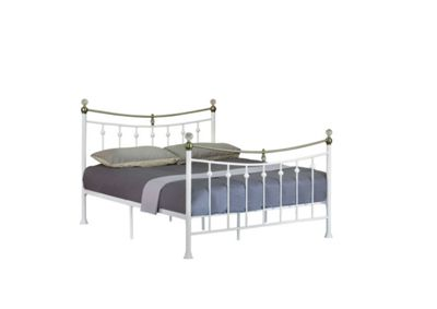 Comfy Living 4ft6 Double Vintage Style Metal Bed Frame with Crystal Finials in White with Basic Budget Mattress