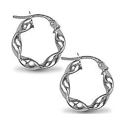 Jewelco London Sterling Silver Loose Twist Hoop Earrings - 3mm