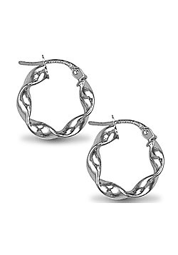 Jewelco London Sterling Silver Loose Twist Hoop Earrings - 3mm