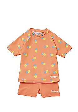 Babeskin Pineapple Print UPF50+ Rash Top and Shorts Set - Orange