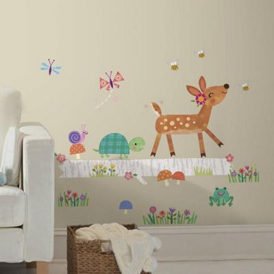 Baby Wall Stickers, Nursery Wall Stickers, Kids Wall Stickers - Baby Deer on Log