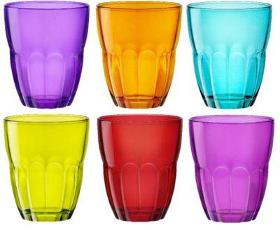 Bormioli Rocco Ercole Coloured Tumbler Glasses - 230ml (8oz) - Multi Coloured - Set of 6