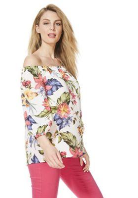F&F Hawaii Floral Print Bardot Top White/Multi 8
