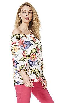 F&F Hawaii Floral Print Bardot Top - White/Multi