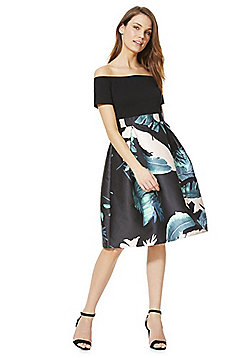 AX Paris Palm Print Bardot Skater Dress - Multi