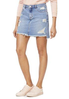 JDY High-Low Distressed Denim Skirt Light Blue XS
