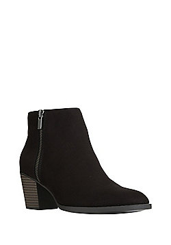 F&F Sensitive Sole Double Zip Faux Suede Ankle Boots - Black