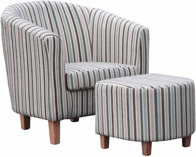 Stripe Fabric Blue Tub Chair & Footstool Set - Duck Egg