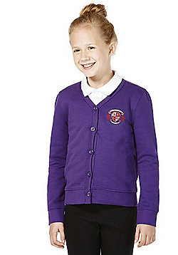 Girls Embroidered Jersey School Cardigan with As New Technology - Purple
