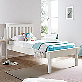 Happy Beds Grace Wooden Low Foot End Bed with Memory Foam Mattress - White