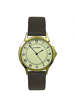Sekonda Unisex Gold Plated Case Brown Buckle-up Strap Watch