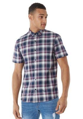 F&F Button-Down Collar Checked Short Sleeve Shirt Navy 2XL