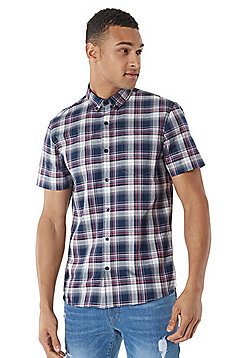 F&F Button-Down Collar Checked Short Sleeve Shirt - Navy