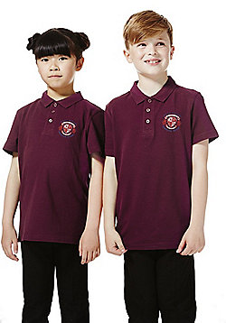 Unisex Embroidered School Polo Shirt - Burgundy