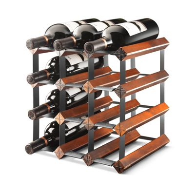 Commercial Grade 12 Bottle Assembled Traditional Wine Rack Maple Wood Finish