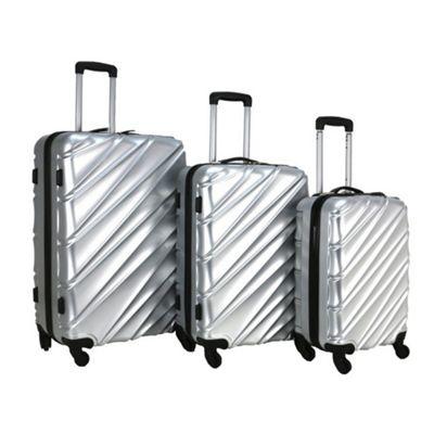 Swiss Case Wave 4-Wheel 3Pc Abs Suitcase Set, Silver